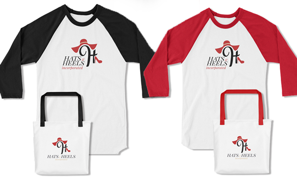 Hats and Heels tee shirts and bags